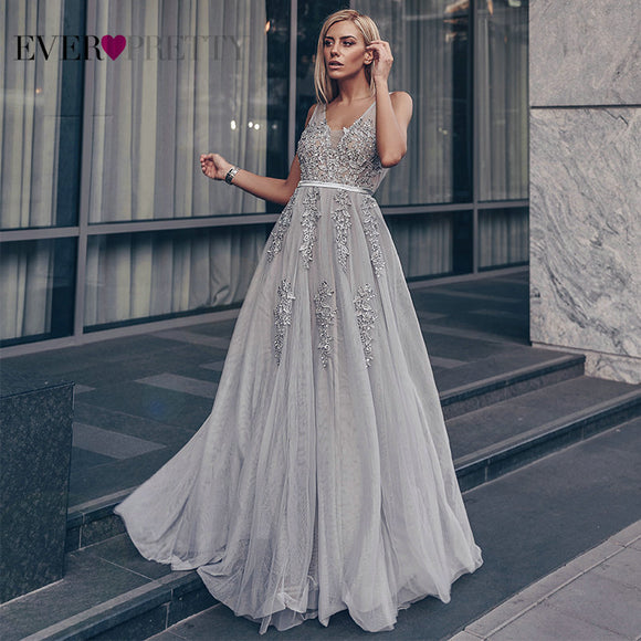 Prom Dresses Long 2020 Ever Pretty Elegant Long V-neck Tulle Lace Applique Sleeveless A-line Hot Selling Vestidos De Graduacion