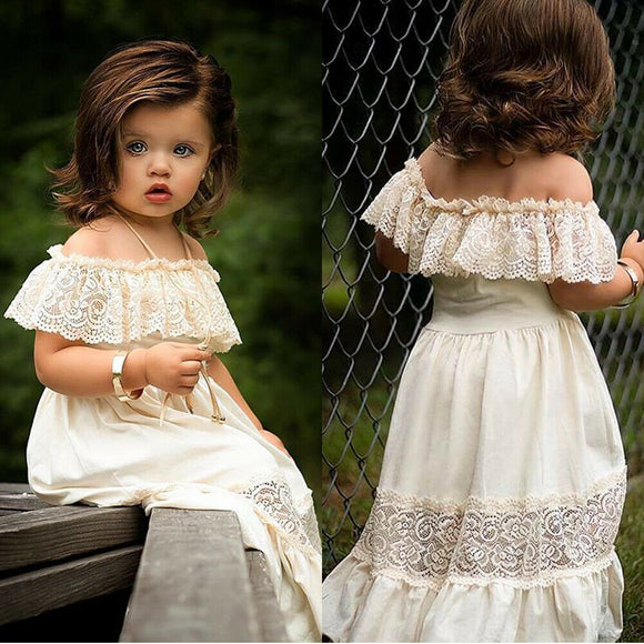 Newest Fashion Toddler Baby Girl Summer Dress 2020 Off Shoulder Solid Color Lace Flower Dress Party Formal Dress Toddler Baby Girl Sundress 2020