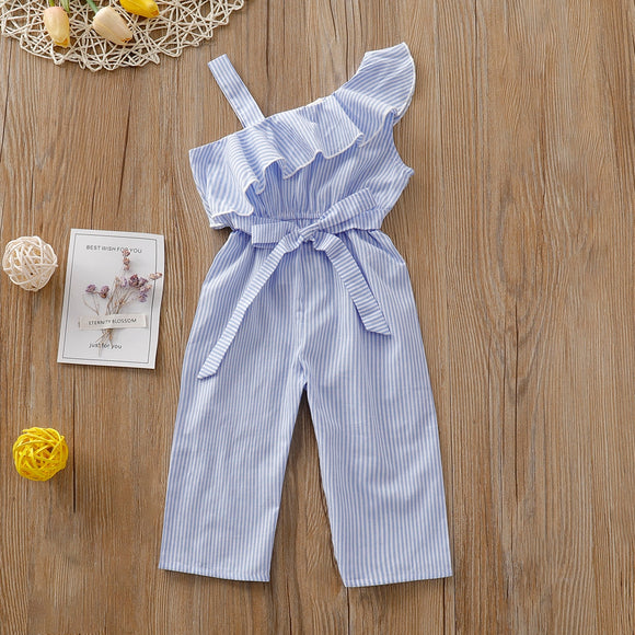 Summer Toddler Baby Girl Clothes Off Shoulder Ruffle Cotton Striped Romper 2020 Jumpsuit One-piece Outfit Playsuit Summer