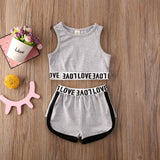 Toddler Baby Girl Clothes Solid Color Sleeveless Crop Tops 2020 Short Pants 2Pcs Outfits Cotton Clothes