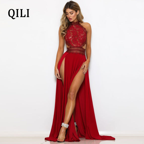 Red Spaghetti Strap Fit and Flare Backless Split Long Maxi Dresses
