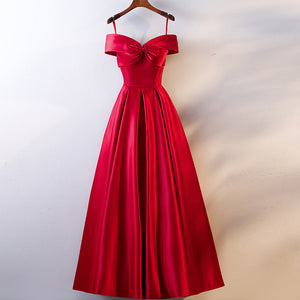New Red Slim A-line Red Evening Dress 2020 off shoulder Long Red Formal Dress 2020 Elegant Woman Red Party Dresses 2020 Evening Gown