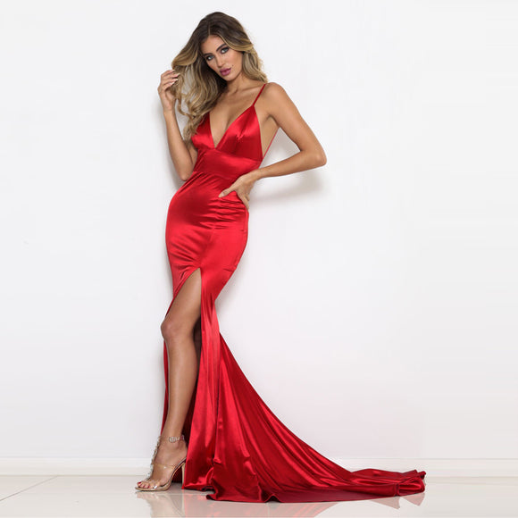 Red Deep V-Neck Prom Dresses Open Back Slim Long Dress Backless Red Evening Dresses V Neck Red Mermaid Dresses
