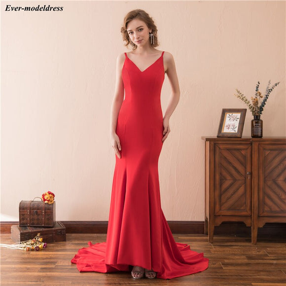 Red Mermaid Evening Dresses 2020 Open Back Sweep Train Long Formal Gowns Party Prom Dress Robe De Soiree Cheap