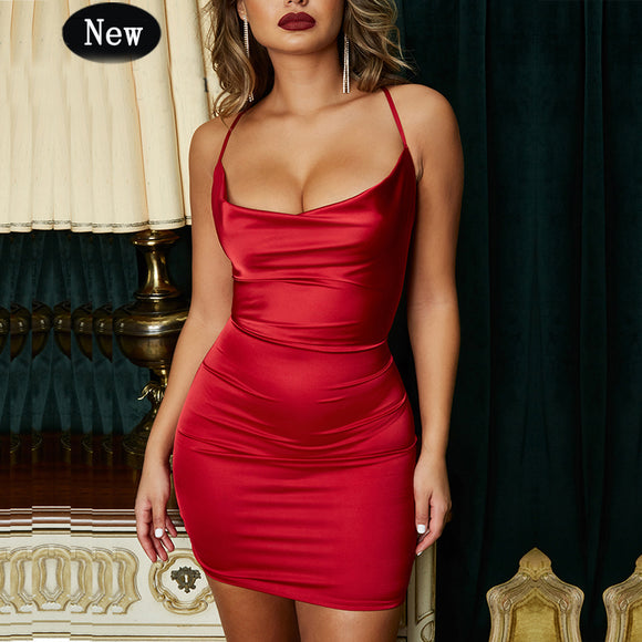 Red Satin Dress 2020 Women Bodycon Dress Leopard Print Summer Red Sleeveless Dress Sexy Dresses Party Night Club Wear Red Strapless Dress Vestidos