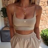 White Crop Top 2020 Rockmore Spaghetti Straps Women Streetwear Bodycon Tank Top Khaki Letter Embroidery Fitness Crop Top White Sexy Vest Femme Club   Swansstyle