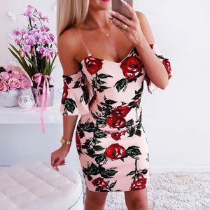 Ruffle Women's Strap Dress 2020 Summer Sleeveless V-neck Dresses For Women Pink Bodycon Dress 2020 Backless Rose Print Sexy Dress 2020