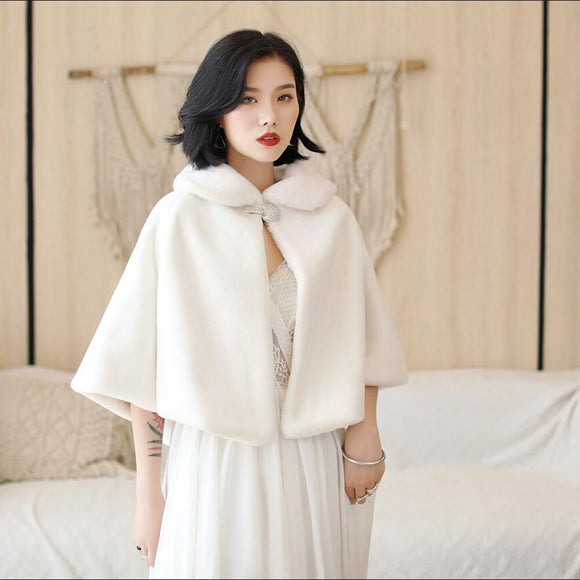 Faux Fur Winter Bridal Wrap Warm Ivory Fur Boleros 2020 Bridal Cape Evening Coat Wedding Jacket 2020 Party Dress wrap