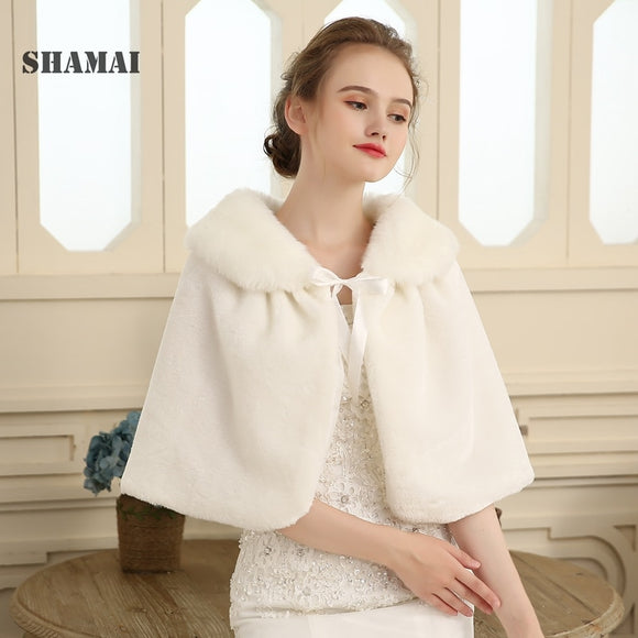Winter Faux Fur Boleros 2020 Bridal Wraps Warm Fur Boleros Real Photo Woman Bridal wrap Evening Coat 2020