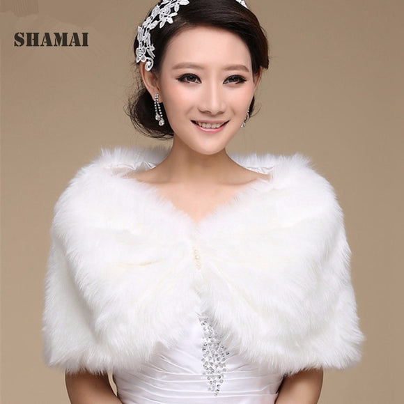 Women Winter Sleeveless Bolero 2020 White Bridal Wraps Warm Ivory Faux Fur Black Bridal Bolero Crop Red Faux Fur wedding Jacket