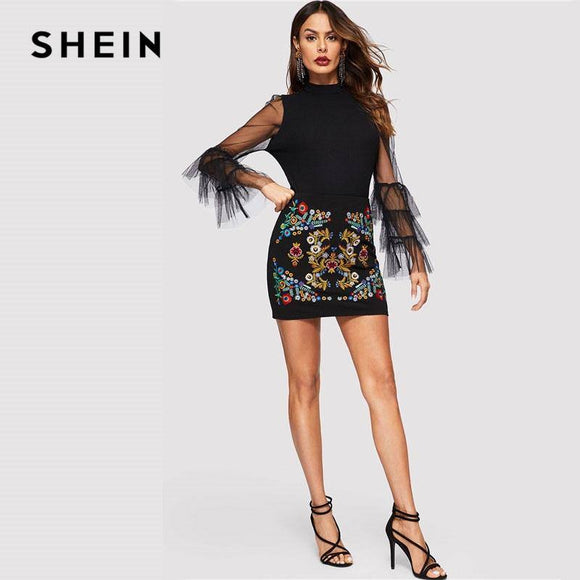 Shein Black Botanical Embroidered Textured Skirt 2020 Casual Zipper Night Out Mini Skirt 2020 Women Spring Elegant Workwear Skirt 2020