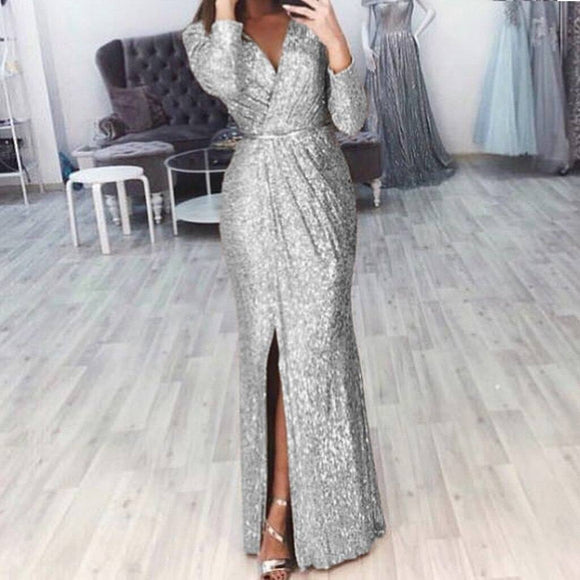 Sequin Spilt Long Dress 2020 Women Sexy V Neck Long Sleeve Evening Party Dress 2020 Slim Fit Split Glitter Maxi Dress 2020 Vestidos De Verano