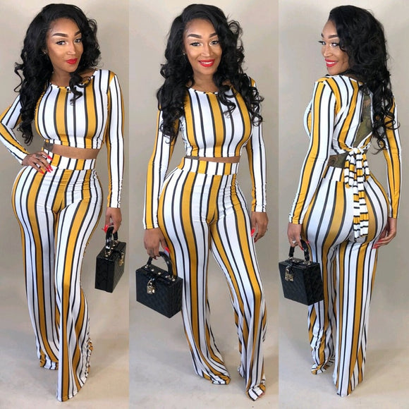 Sexy 2 two-piece set 2020 top and pants autumn outfits tracksuit 2020 women long sleeve wide leg pants 2020 striped print two piece sets