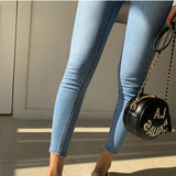 Stretchable Jeans Pants 2020 Sexy Denim Jeans for Women High Waist Ripped Holes Streetwear Stretchable Women Denim Blue Trousers 2020