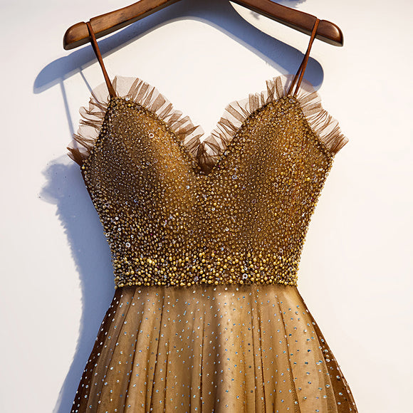Spaghetti Strap Strapless Cut Out Sequin Evening Dresses