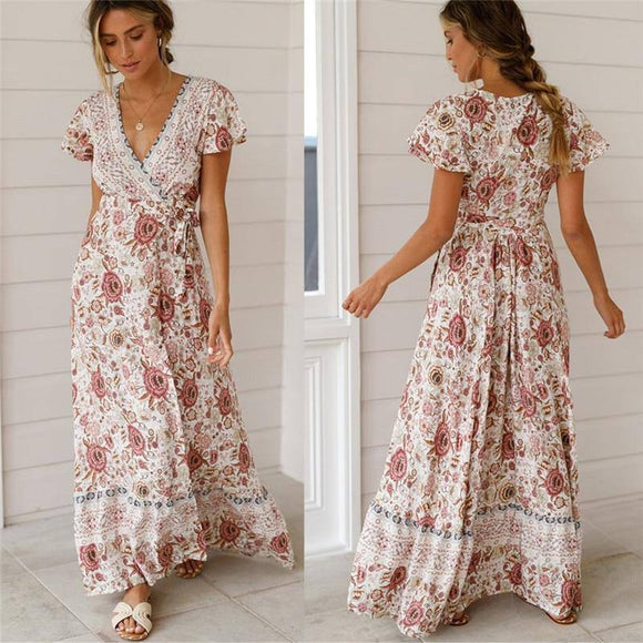 Sexy Holiday Long Dress 2020 Women'S Boho Dress 2020 Lady Boho Floral V-Neck Long Maxi Dress 2020 Summer Beachwear Sundress