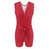 Sexy Low Cut Red Polka Dot Sleeveless Tunic 2020 Lace Up Rompers Womens Summer Clothes Overalls Playsuit Casual Streetwear