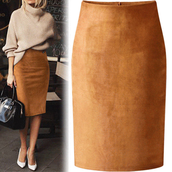 Winter Brown Skirt 2020 Sexy Multi Color Suede Midi Pencil Skirt Women Fashion Elastic High Waist Office Lady Bodycon Skirts Saias