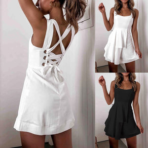 Criss Cross Dress with Off Shoulder Spaghetti Strap O Neck White Boho Short Dress