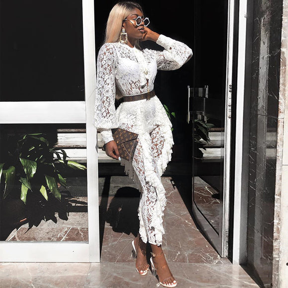 Sexy Outfits White Lace Jumpsuit 2020 Women Transparent See Through Elegant Ruffle Romper 2020 Party Evening Celebrity Clubwear Clothes