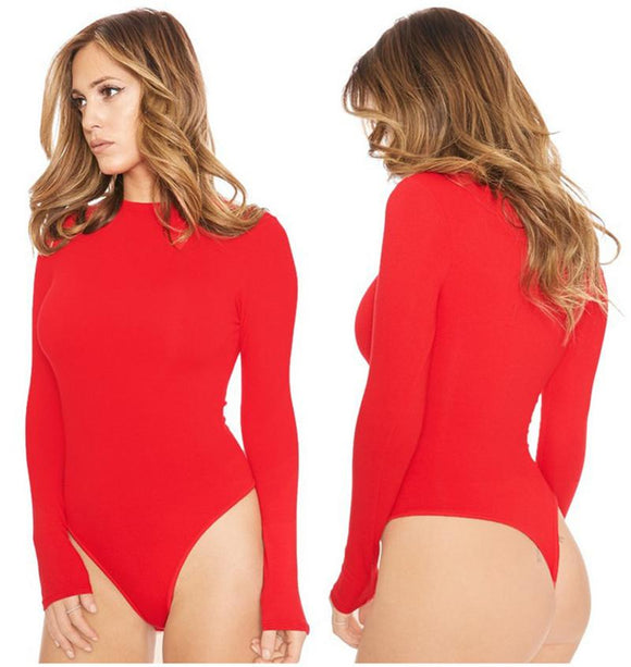 Sexy Romper Women Long Sleeve Bodysuit 2020 Spring New Solid O Neck Red Jumpsuits Club Wear Sexy Bodysıit 2*2*