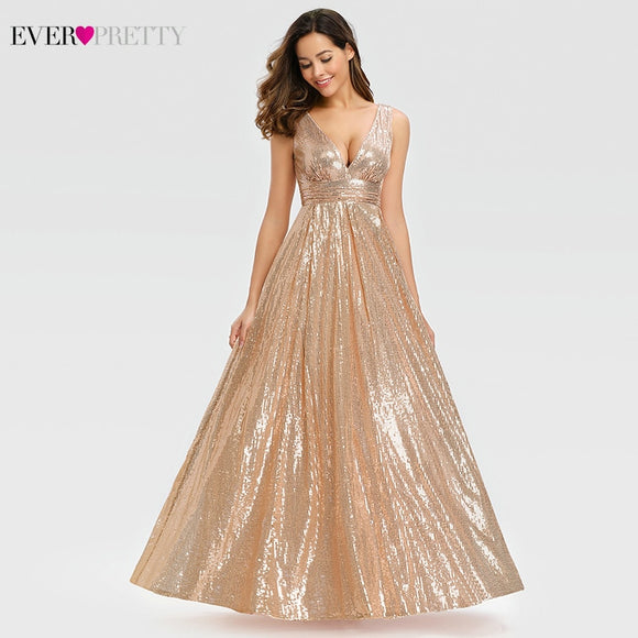 Sexy Rose Gold Prom Dresses 2020 Long Ever Pretty A-Line Double V-Neck Sequin Prom Dresses 2020 Elegant Evening Party Gowns Gala Jurken Dames 2020
