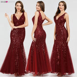 Sexy Sequin V Neck Prom Dresses 2020 Sleeveless Mermaid Evening Dresses 2020 Draped Trumpet Prom Dress Elegant Women Formal Lace Long Party Dresses
