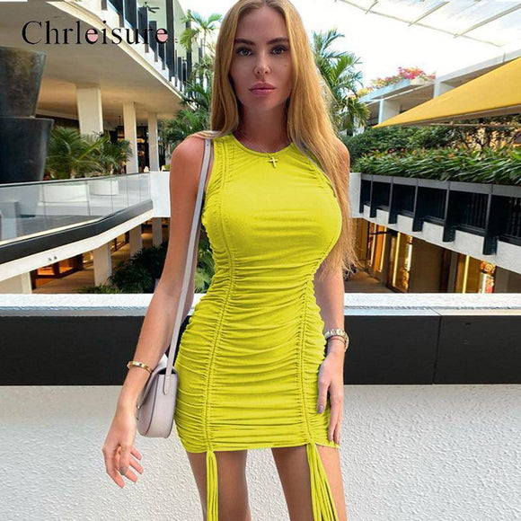Sexy Solid Dress 2020 Sleeveless Bodycon Dress 2020 Women O-Neck Ruched Dress 2020 Feminina Summer Dress 2020