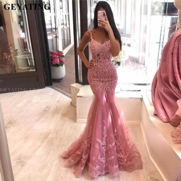 Sexy Spaghetti Straps Pink Lace Mermaid Evening Dress 2020 Elegant Women Long Formal Dress 2020 Silver Gray Beaded Prom Party Dress 2020