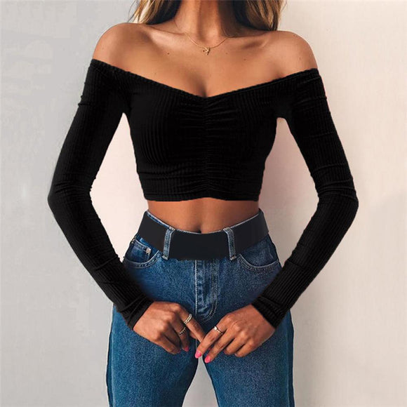 Sexy T-Shirt 2020 Women Long Sleeve Black Crop Top 2020 Spring Summer Off Shoulder Crop Top Top 2020 Black Red Tshirt Top Streetwear 2020   Swansstyle