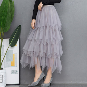 Sexy Women High Waist Aline Pleated Midi Skirt 2020 Korean Fashion Skirt Ladies Summer Tulle Skirts 2020 Streetwear Skirt
