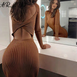 Sexy Women's Knitted Dress 2020 Autumn Club Cotten Party Wrap Dress 2020 Stripes Backless Hollow Bodycon Ladies Long Sleeve Mini Dress   Swansstyle