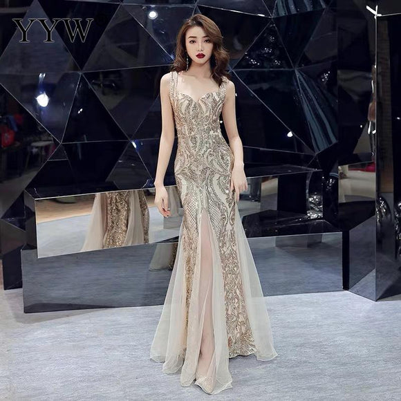 Evening Dresses 2020, Cheap Evening Dresses, Shinny Gold Sequined V Neck Sleeveless Elegant Evening Dresses Sexy Robe De Soiree Formal Dress Luxury Mesh Club Party Vestidos