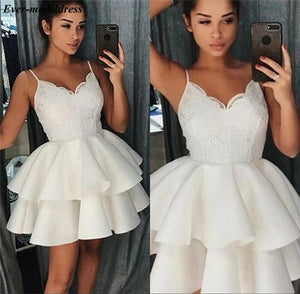 Short Graduation Dresses 2020 Lace Appliques Spaghetti Straps Tiered Mini Homecoming Dresses 2020 Prom Gowns Plus Size Cheap