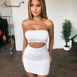 Bodycon Solid Women Mini Dress 2020 Hollow Out Strapless Sexy Hot Party Clubwear 2020 Summer Skinny Dress Wrap Chest