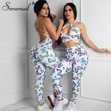 Butterfly Print Backless Sporty Jumpsuits 2020 Ruched Workout Active Wear Sleeveless Rompers 2020 Summer Womens Jumpsuit New