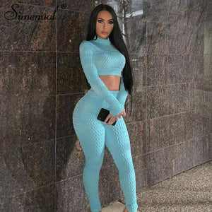 2020 Fitness Sportswear Push Up Two Piece Sets 2020 Workout Skinny Tracksuits Long Sleeve Top And Pants Set