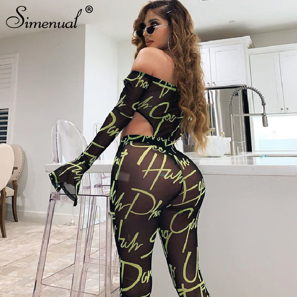 Mesh Sexy Hot Transparent Bodysuit And Pants 2020 Women Co-ord Set Letter Print Off Shoulder 2 Piece Outfit Long Sleeve Bodysuit And Pants Sets 2020