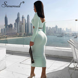 Simenual Ribbed Autumn Matching Set Fashion Sexy Solid Women 2 Piece Outfits V Neck Bodycon Crop Top And Skirt Sets Skinny