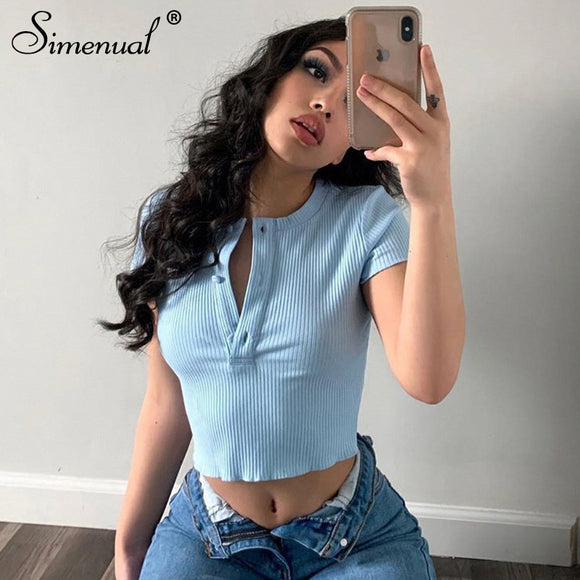Ribbed Casual Basic Solid Women O Neck T-Shirts 2020 Short Sleeve Crop top Summer Fashion Crop Top Skinny Bodycon Slim Button Hot Tees 2020