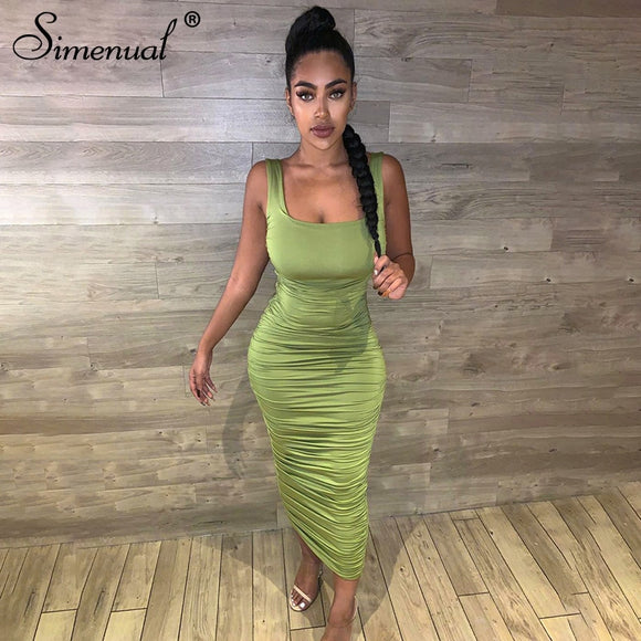 Cheap Dresses 2020 Simenual Ruched Solid Sexy Bodycon Party Dresses 2020 Women Fashion Sleeveless Skinny Clubwear Basic Hot Midi Dress 2020 Slim Female
