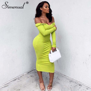 Simenual Sexy Fashion Ribbed Party Dresses Women Long Sleeve Clubwear Off Shoulder Bodycon Dress Hot Autumn Skinny Maxi Dress