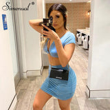 V Neck Ruched Sexy Matching Set 2020 Short Sleeve Solid Bodycon Club Two Pieve Crop Top 2020 Outfits And Mini Skirt Sets