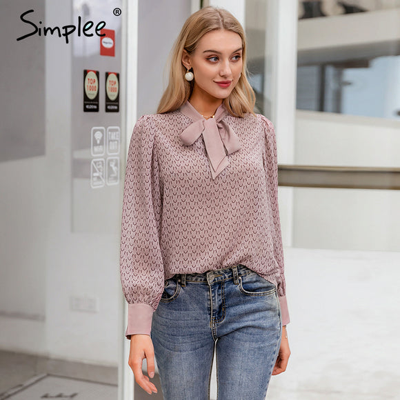 Simplee Casual geometric long sleeve women blouse shirt Summer spring neck tie blouses shirt Elegant work wear loose female top
