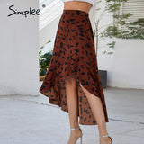 High Waist Leopard Print Wrap Skirt 2020 Office Clothing Asymmetrical Ruffle Midi Skirt 2020 Casual Hight Waist Sexy Skirt   Swansstyle