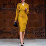 Skinny Blazer Yellow Work Dress 2020 Office Ladies Tight Fitted Dresses Women High Waist Temperament Bodycon Dress 2020 Evening Party Dress   Swansstyle