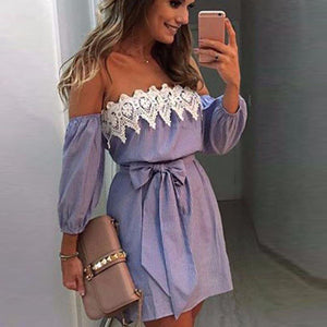 Women Off Shoulder Lace Dress 2020 Casual Sleeveless Party Short Mini Dress 2020 Fashion Sexy Elegant Female Vestido   Swansstyle