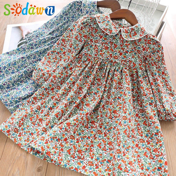 Sodawn Spring Girl Dress 2020 Flower Pattern Long Sleeve Baby Collar Kids dress 2020 Sweet Children Clothing Princess Party Girl Dresses