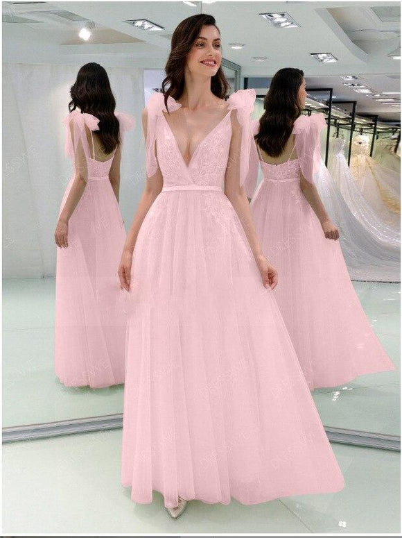Spaghetti Strap Sleeveless Pink Evening Dress 2020 Deep V Neck Pink Prom Dresses 2020 Chiffon Evening Gowns Sleeveless Tulle Cute Party Dresses   Swansstyle