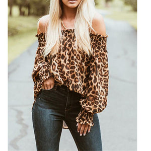 Spring Autumn Winter Leopard Off Shoulder Backless Chiffon Blouse Top Shirt Women Long Sleeve Loose Leopard Print Blouse